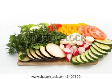 slices of fresh vegetables - stock photo