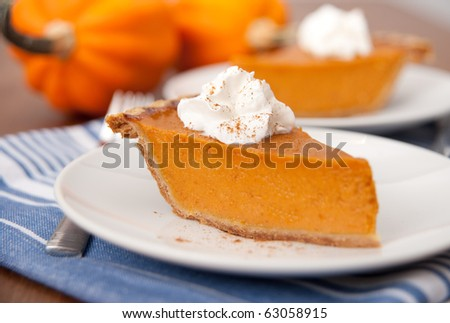 Slices of Freshly Baked Pumpkin Pie