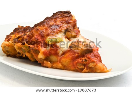 Slices of homemade chicken pizza on a white background.