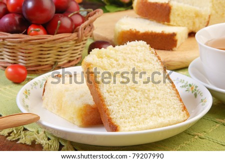 Slices of honey spong cake on the plate