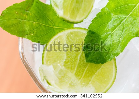 Slices of lime with ice