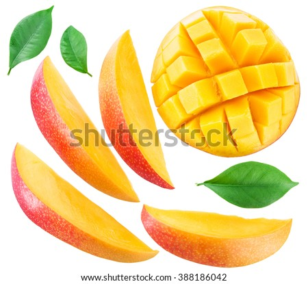 Slices of mango fruit and leaves over white. File contains clipping paths. - stock photo