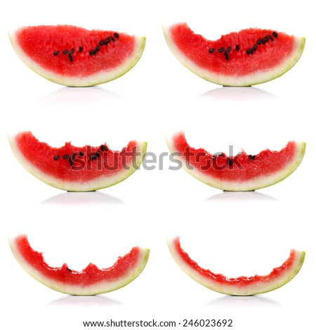 Slices of melon getting less, collage - stock photo