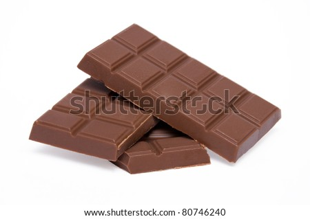 slices of milk chocolate isolated on a white background