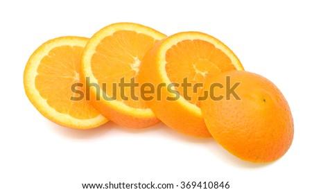 slices of orange fruit isolated on white background - stock photo