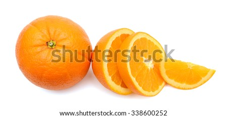 slices of orange isolated on white  - stock photo