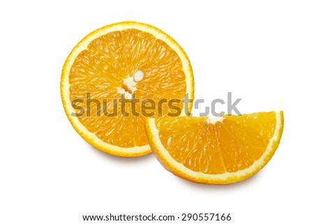 Slices of  orange isolated on white background. Clipping path.