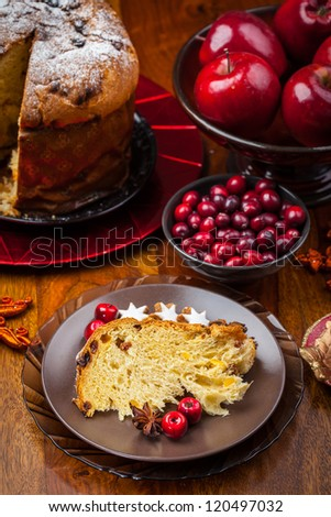 Slices of panettone - traditional Italian Christmas cake - stock photo
