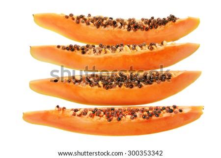 Slices of Papaya on White Background - stock photo