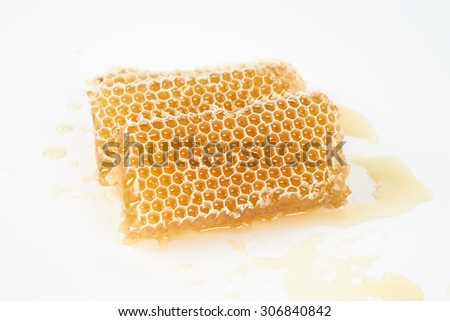 Slices of raw honeycomb placed on white background - stock photo