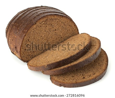 Slices of rye bread isolated on white background - stock photo