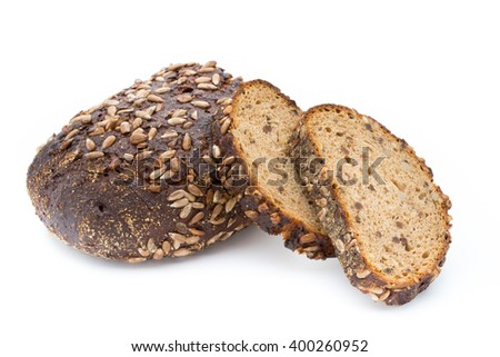 Slices of rye bread isolated on white background.