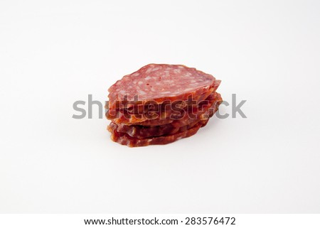 slices of salami isolated on a white background