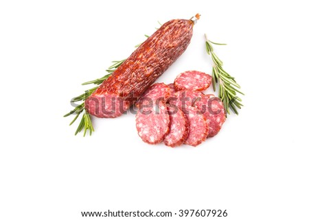 slices of salami isolated on a white background - stock photo