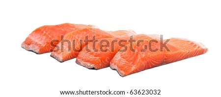 Slices of salmon, isolated on a white background. - stock photo