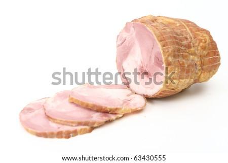Slices of smoked pork bacon - stock photo
