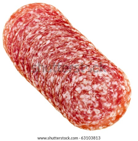 slices of Smoked Sausage isolated on white - stock photo