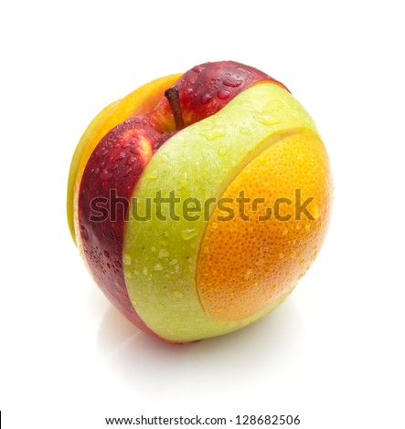 Slices of various fruits connected into one whole. - stock photo
