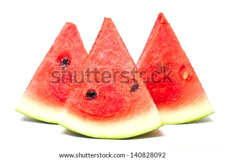slices of watermelon isolated on white background. - stock photo