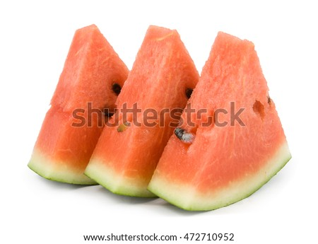 slices of watermelon on whit background