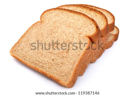 slices of wheat bread isolated white background - stock photo
