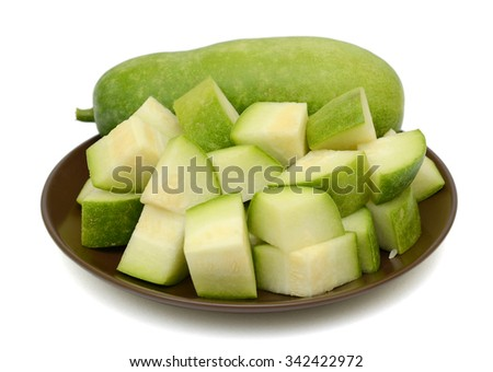 Slices of Winter melon on white background - stock photo