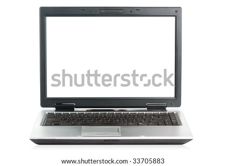 Slick looking PC laptop with Clipping Path for both laptop body and screen