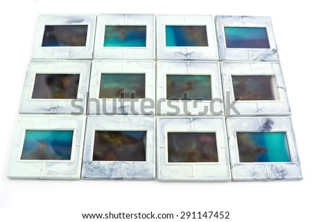 Slide frames isolated on white background - stock photo