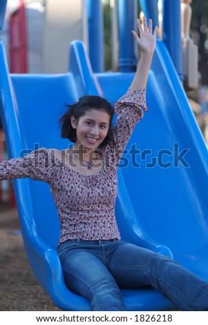 sliding fun in park - stock photo