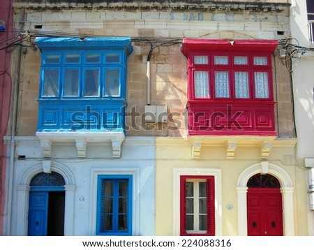SLIEMA, MALTA - MAY 26, 2008: Unusual colorful architecture of residential houses in Sliema, one of Malta's main coastal resorts.