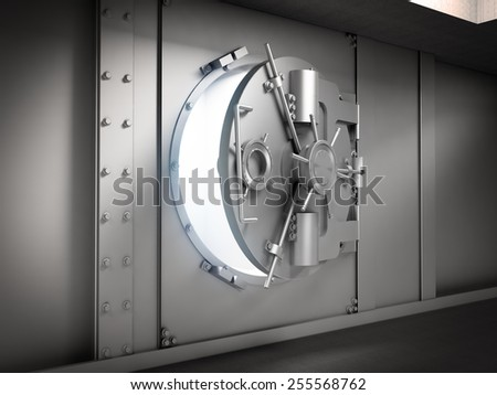 Slightly opened door to a massive bank vault - stock photo