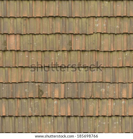 Slightly worn roof texture with square shingles in a pale green tone.