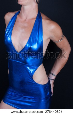 Slim and Sexy brunette woman with a blue dress - stock photo