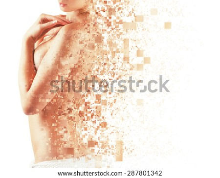 Slim body of a young woman on a white background - stock photo