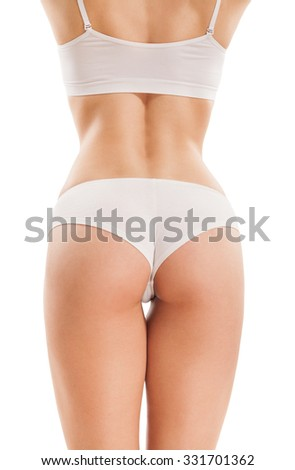 Slim body of woman  isolated on white, from the back.