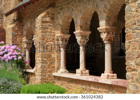 Slim columns decorate the cloister of St Martin du Canigou monastery, Pyrenees-Orientales department, France