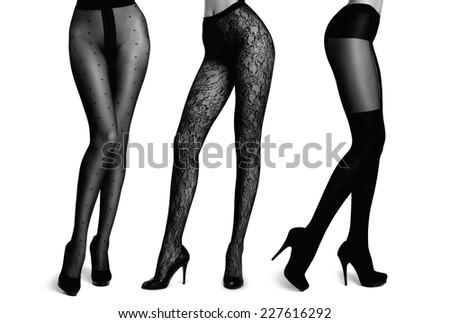 Slim female legs in pantyhose. Conceptual fashion art photo - stock photo
