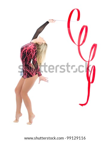 Slim flexible woman rhythmic gymnastics art isolated on a white background