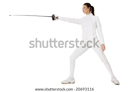 Slim girl in fencing costume with sword in hand over white background - stock photo