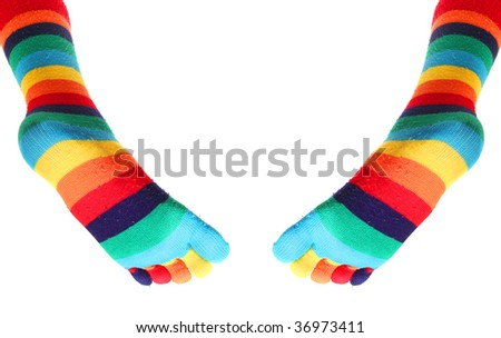 Slim legs with funny socks - stock photo
