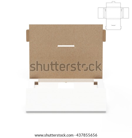 Slim Retail Box with Blueprint Template and Protection Shipping 3D Rendering