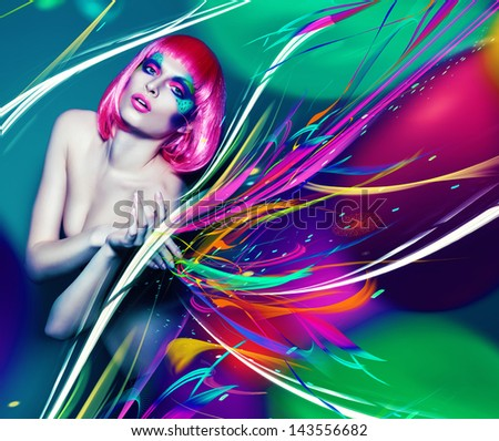 slim woman in pink wig with art lines