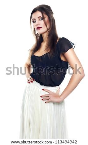 slim woman in white skirt on white background - stock photo