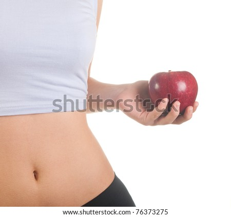 Slim woman isolated on white background - stock photo