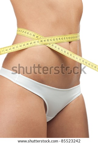 Slim young woman wearing white panties measuring her waist line. Isolated on white