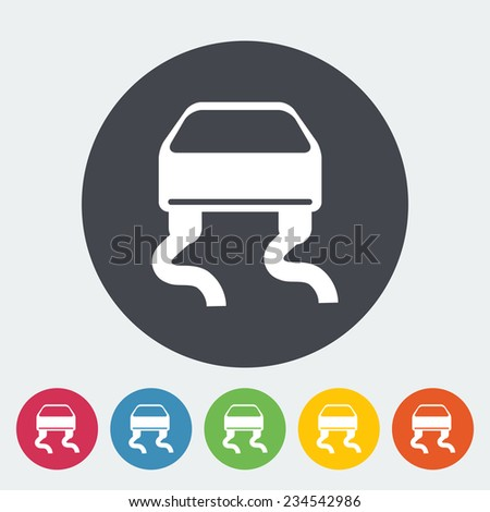 Slip-indicator. Single flat icon on the circle.  illustration. - stock photo