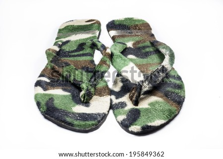 slippers Camouflage military on white background