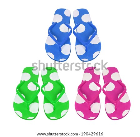 Slippers on White Background - stock photo