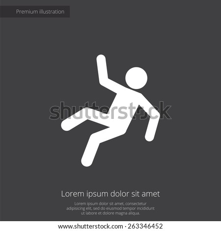 slippery floor premium illustration icon, isolated, white on dark background, with text elements  - stock photo
