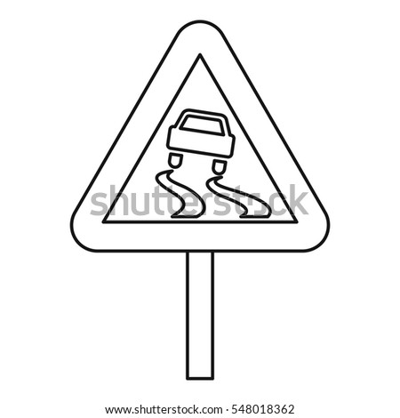 Slippery road icon. Outline illustration of slippery road  icon for web